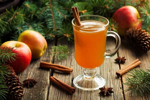Hot apple cider traditional winter season drink with cinnamon an
